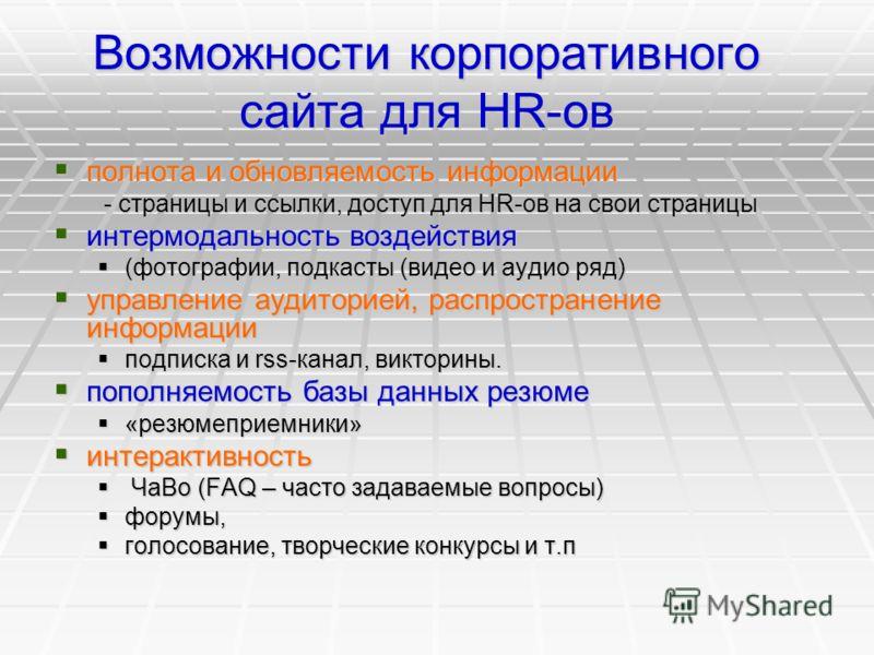Возможности корпоративного сайта для HR-ов полнота и обновляемость информации полнота и обновляемость информации - страницы и ссылки, доступ для HR-ов на свои страницы - страницы и ссылки, доступ для HR-ов на свои страницы интермодальность воздействи