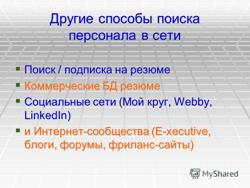 Другие способы поиска персонала в сети Поиск / подписка на резюме Поиск / подписка на резюме Коммерческие БД резюме Коммерческие БД резюме Социальные сети (Мой круг, Webby, LinkedIn) Социальные сети (Мой круг, Webby, LinkedIn) и Интернет-сообщества (
