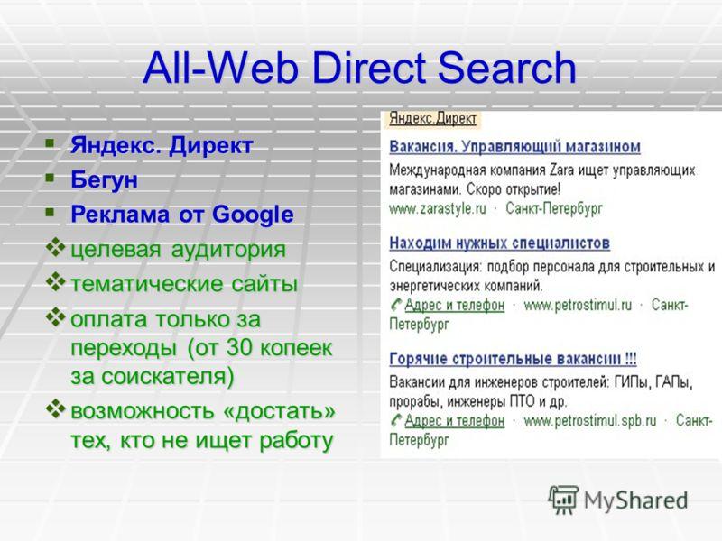 All-Web Direct Search Яндекс. Директ Яндекс. Директ Бегун Бегун Реклама от Google Реклама от Google целевая аудитория целевая аудитория тематические сайты тематические сайты оплата только за переходы (от 30 копеек за соискателя) оплата только за пере