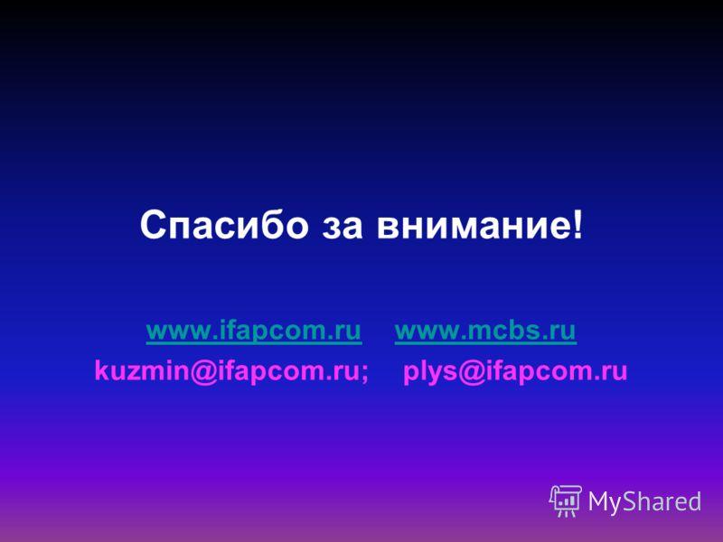 Спасибо за внимание! www.ifapcom.ruwww.ifapcom.ru www.mcbs.ruwww.mcbs.ru kuzmin@ifapcom.ru; plys@ifapcom.ru