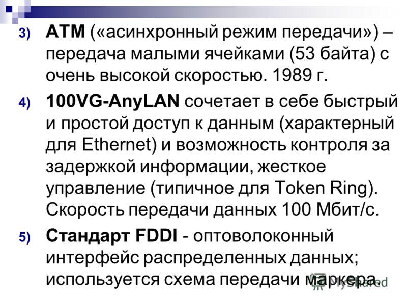3) ATM («асинхронный режим передачи») – передача малыми ячейками (53 байта) с очень высокой скоростью. 1989 г. 4) 100VG-AnyLAN сочетает в себе быстрый и простой доступ к данным (характерный для Ethernet) и возможность контроля за задержкой информации
