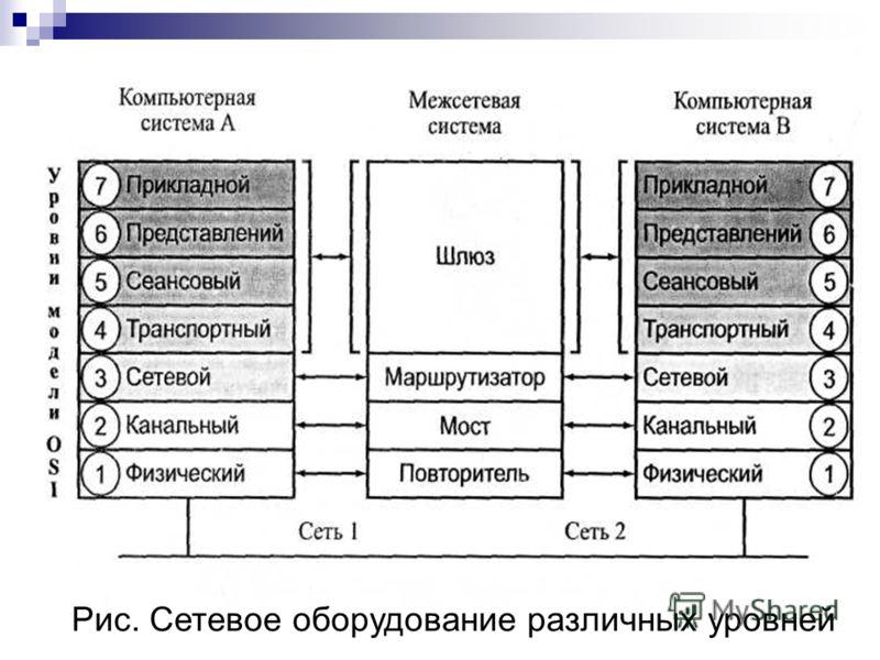 Рис. Сетевое оборудование различных уровней