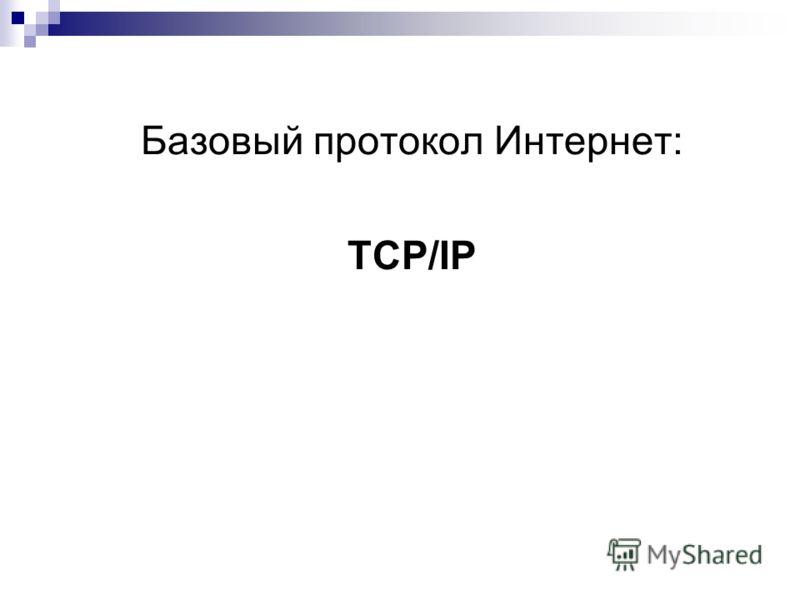 Базовый протокол Интернет: TCP/IP
