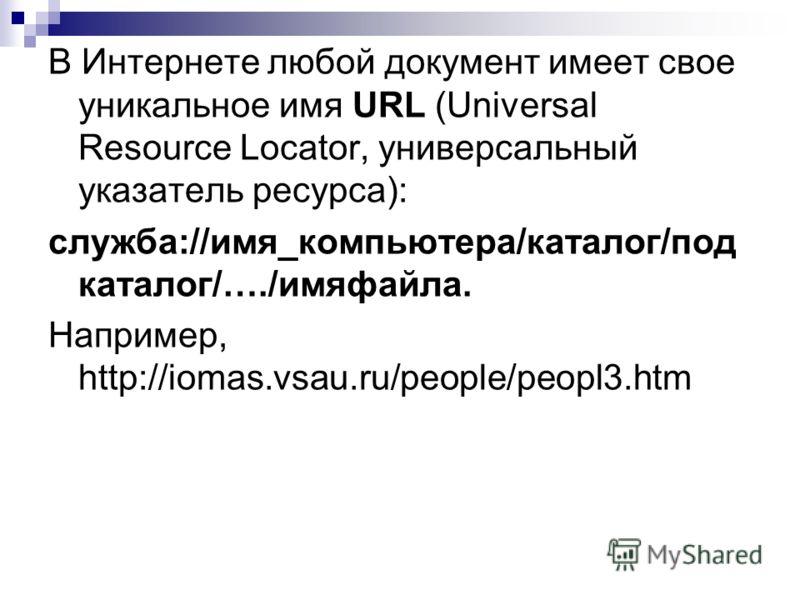 В Интернете любой документ имеет свое уникальное имя URL (Universal Resource Locator, универсальный указатель ресурса): служба://имя_компьютера/каталог/под каталог/…./имяфайла. Например, http://iomas.vsau.ru/people/peopl3.htm