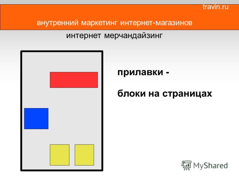 внутренний маркетинг интернет-магазинов интернет мерчандайзинг прилавки - блоки на страницах travin.ru