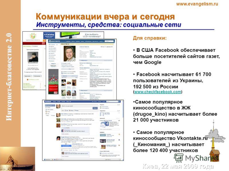 www.evangelism.ru Интернет-благовестие 2.0 Коммуникации вчера и сегодня Инструменты, средства: социальные сети Для справки: В США Facebook обеспечивает больше посетителей сайтов газет, чем Google Facebook насчитывает 61 700 пользователей из Украины,