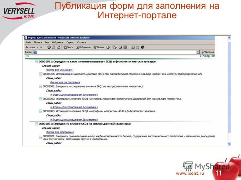 www.icon3.ru 11 Публикация форм для заполнения на Интернет-портале