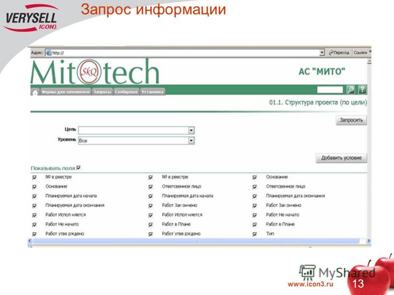 www.icon3.ru 13 Запрос информации