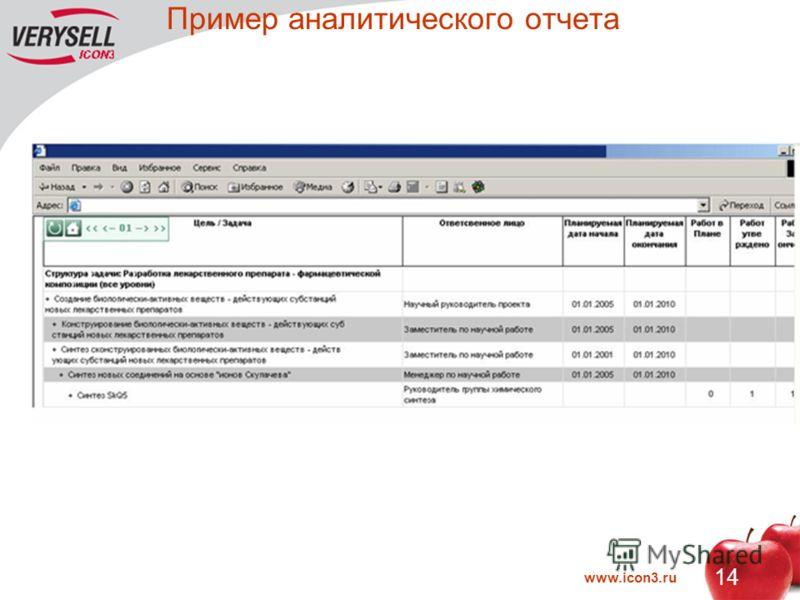 www.icon3.ru 14 Пример аналитического отчета