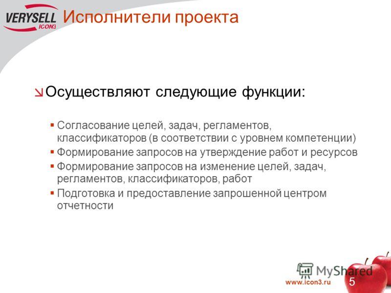 www.icon3.ru 5 Исполнители проекта Осуществляют следующие функции: Согласование целей, задач, регламентов, классификаторов (в соответствии с уровнем компетенции) Формирование запросов на утверждение работ и ресурсов Формирование запросов на изменение