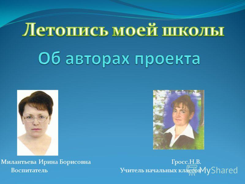 Милантьева Ирина Борисовна Гросс.Н.В. Воспитатель Учитель начальных классов