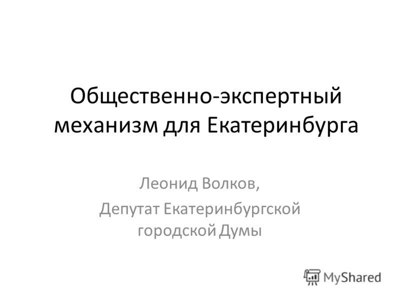 Общественно-экспертный механизм для Екатеринбурга Леонид Волков, Депутат Екатеринбургской городской Думы