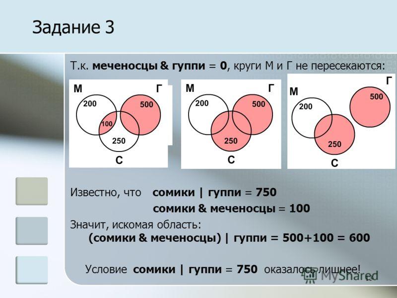 13 Т.к. меченосцы & гуппи = 0, круги М и Г не пересекаются: Известно, что сомики | гуппи = 750 сомики & меченосцы = 100 Значит, искомая область: (сомики & меченосцы) | гуппи = 500+100 = 600 Условие сомики | гуппи = 750 оказалось лишнее! Задание 3