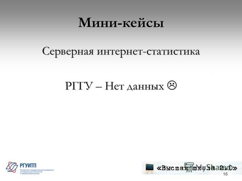 Мини-кейсы Серверная интернет-статистика РГГУ – Нет данных РГГУ – Нет данных 16