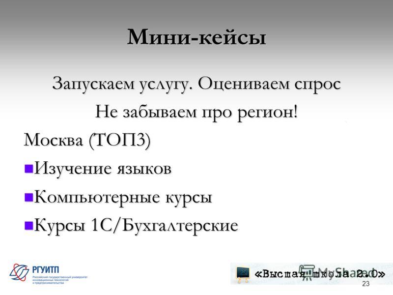 Мини-кейсы Запускаем услугу. Оцениваем спрос Не забываем про регион! Москва (ТОП3) Изучение языков Изучение языков Компьютерные курсы Компьютерные курсы Курсы 1С/Бухгалтерские Курсы 1С/Бухгалтерские 23