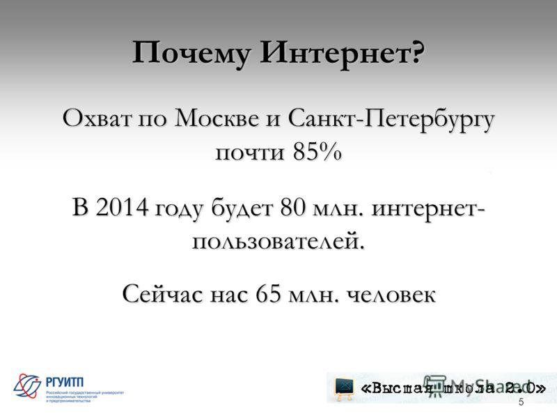 Почему Интернет? Охват по Москве и Санкт-Петербургу почти 85% В 2014 году будет 80 млн. интернет- пользователей. Сейчас нас 65 млн. человек 5