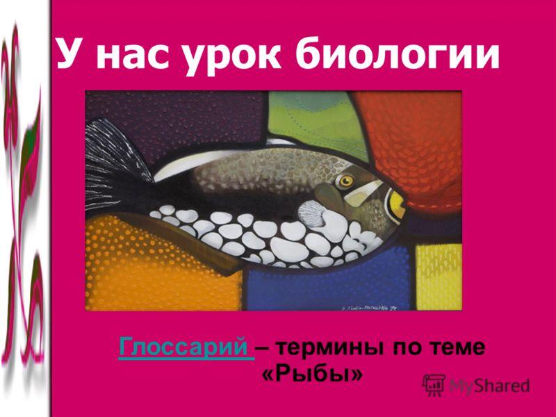 У нас урок биологии Глоссарий Глоссарий – термины по теме «Рыбы»
