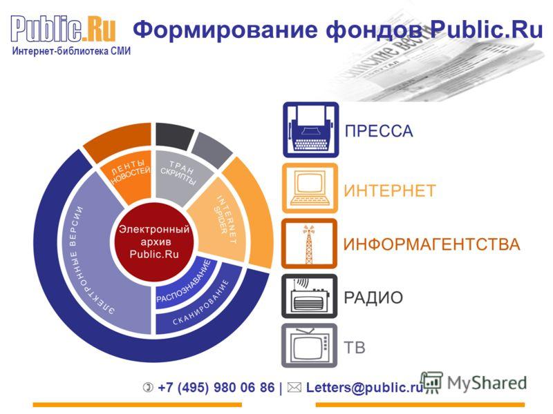 Интернет-библиотека СМИ +7 (495) 980 06 86 | Letters@public.ru Формирование фондов Public.Ru