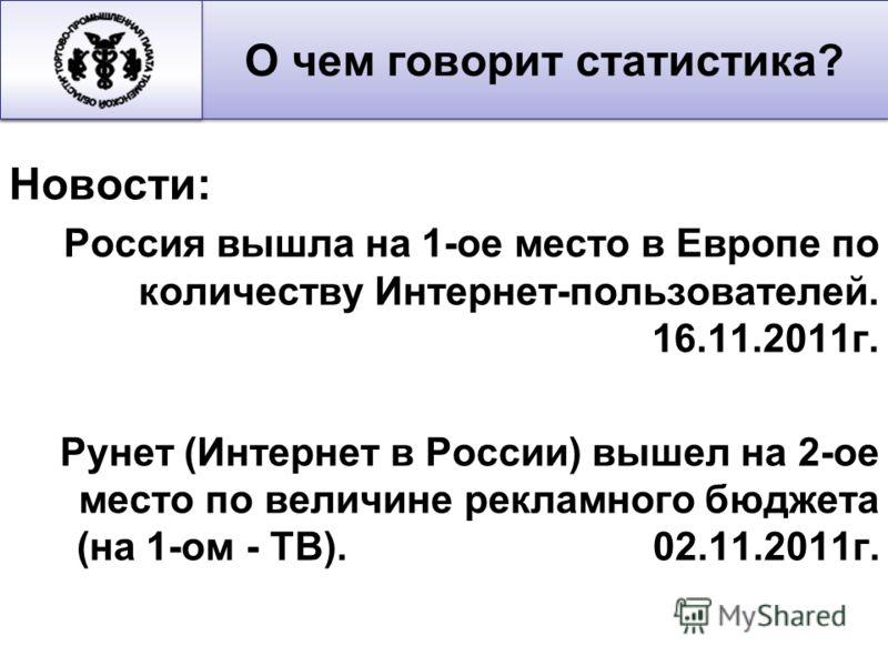 Новости: Россия вышла на 1-ое место в Европе по количеству Интернет-пользователей. 16.11.2011г. Рунет (Интернет в России) вышел на 2-ое место по величине рекламного бюджета (на 1-ом - ТВ). 02.11.2011г. О чем говорит статистика?