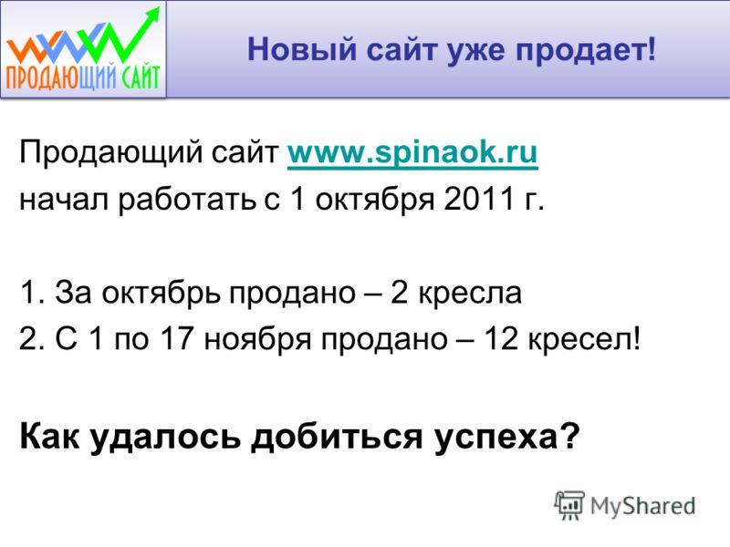 Новый сайт уже продает! Продающий сайт www.spinaok.ruwww.spinaok.ru начал работать с 1 октября 2011 г. 1. За октябрь продано – 2 кресла 2. С 1 по 17 ноября продано – 12 кресел! Как удалось добиться успеха?
