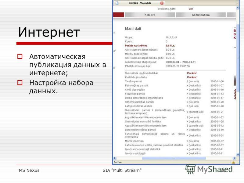 MS NeXusSIA Multi Stream26 Интернет Автоматическая публикация данных в интернете; Настройка набора данных.