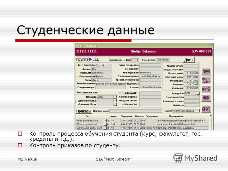MS NeXusSIA Multi Stream7 Студенческие данные Контроль процесса обучения студента (курс, факультет, гос. кредиты и т.д.); Контроль приказов по студенту.