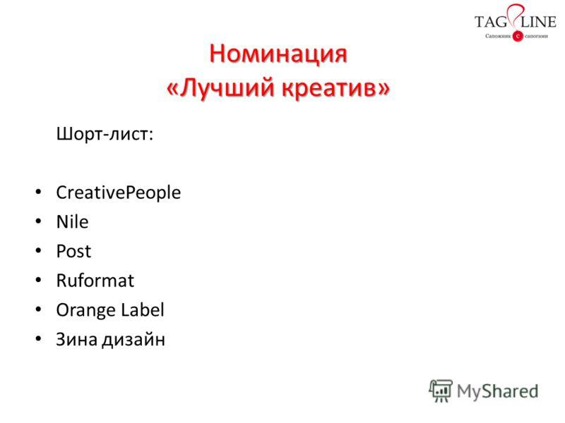 Номинация «Лучший креатив» Шорт-лист: CreativePeople Nile Post Ruformat Orange Label Зина дизайн