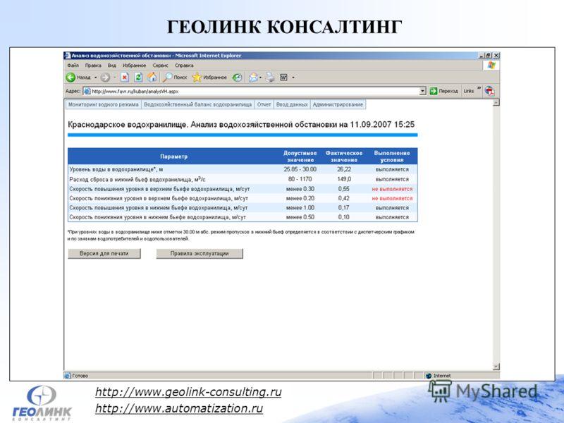 http://www.geolink-consulting.ru http://www.automatization.ru ГЕОЛИНК КОНСАЛТИНГ