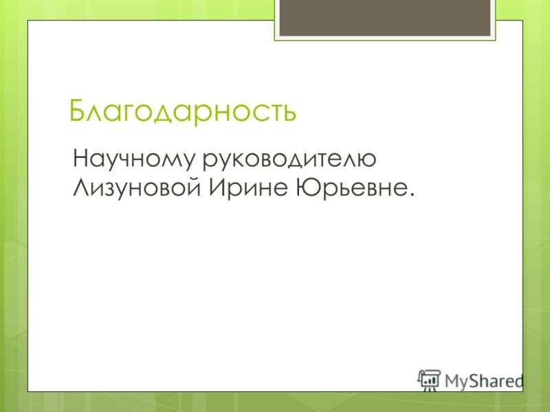 Благодарность Научному руководителю Лизуновой Ирине Юрьевне.