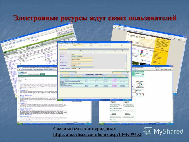 Электронные ресурсы ждут своих пользователей Сводный каталог периодики: http://atoz.ebsco.com/home.asp?Id=K09432