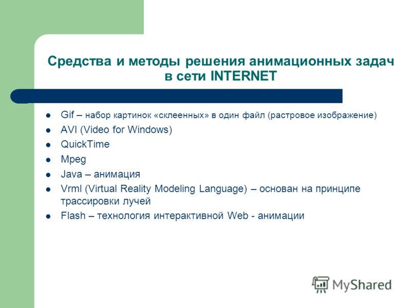 Средства и методы решения анимационных задач в сети INTERNET Gif – набор картинок «склеенных» в один файл (растровое изображение) AVI (Video for Windows) QuickTime Mpeg Java – анимация Vrml (Virtual Reality Modeling Language) – основан на принципе тр