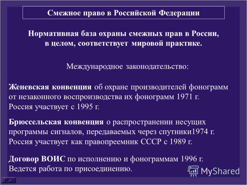 Нормативная база охраны смежных прав в России, в целом, соответствует мировой практике. Международное законодательство: Женевская конвенция об охране производителей фонограмм от незаконного воспроизводства их фонограмм 1971 г. Россия участвует с 1995