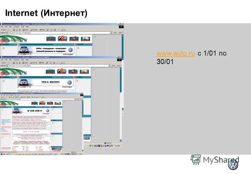 Internet (Интернет) www.auto.ruwww.auto.ru c 1/01 по 30/01