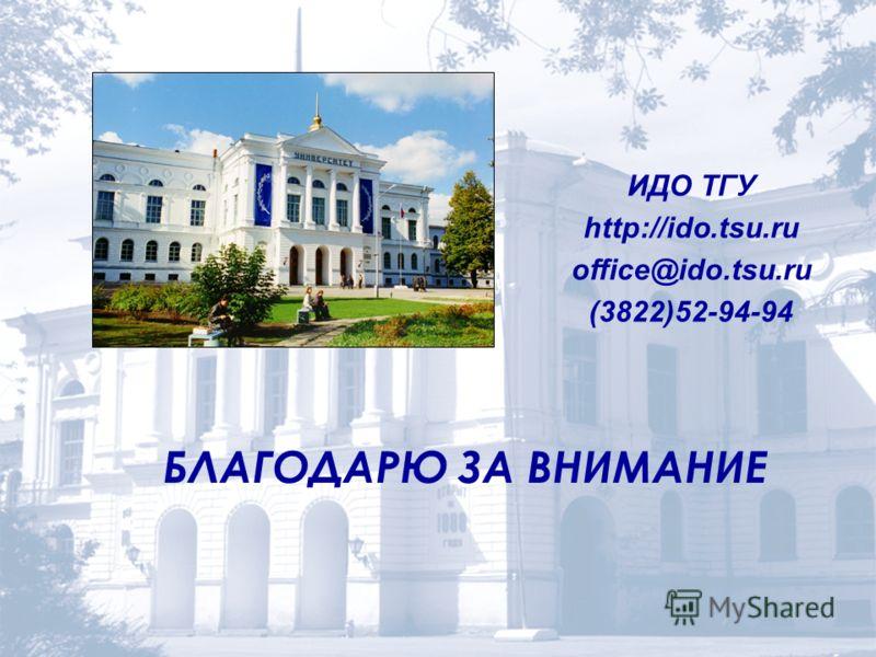 БЛАГОДАРЮ ЗА ВНИМАНИЕ ИДО ТГУ http://ido.tsu.ru office@ido.tsu.ru (3822)52-94-94