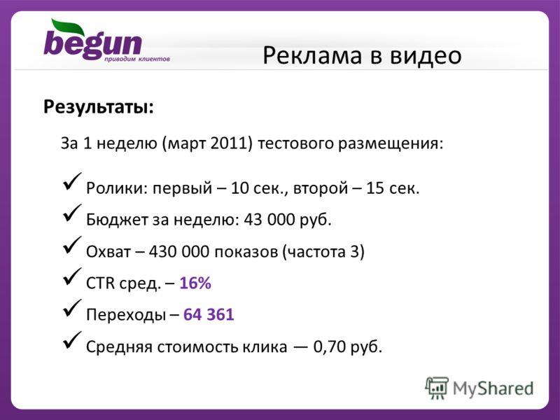 Результаты: За 1 неделю (март 2011) тестового размещения: Ролики: первый – 10 сек., второй – 15 сек. Бюджет за неделю: 43 000 руб. Охват – 430 000 показов (частота 3) CTR сред. – 16% Переходы – 64 361 Средняя стоимость клика 0,70 руб. Реклама в видео