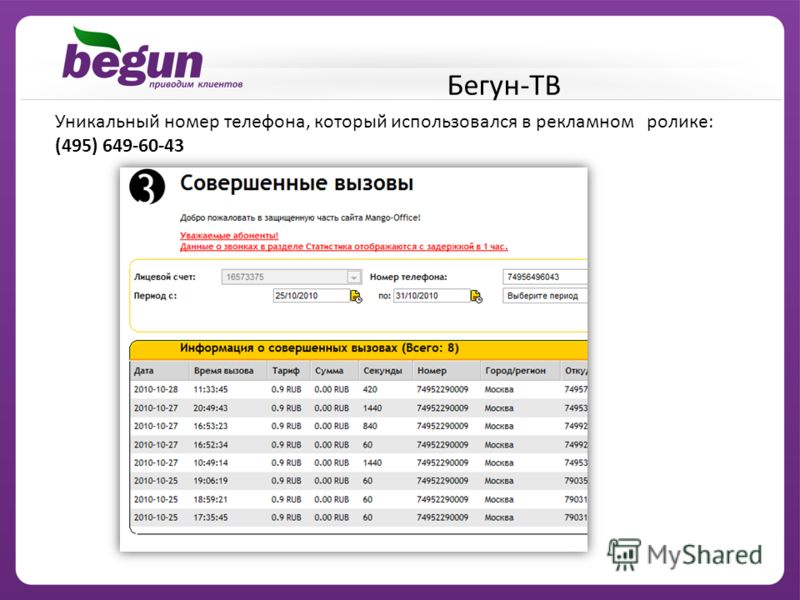 Уникальный номер телефона, который использовался в рекламном ролике: (495) 649-60-43 Бегун-ТВ