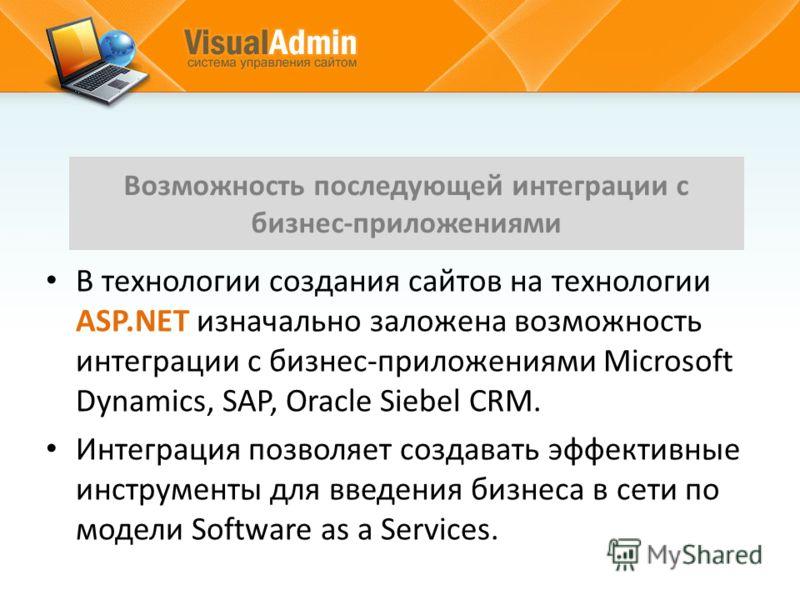 В технологии создания сайтов на технологии ASP.NET изначально заложена возможность интеграции с бизнес-приложениями Microsoft Dynamics, SAP, Oracle Siebel CRM. Интеграция позволяет создавать эффективные инструменты для введения бизнеса в сети по моде