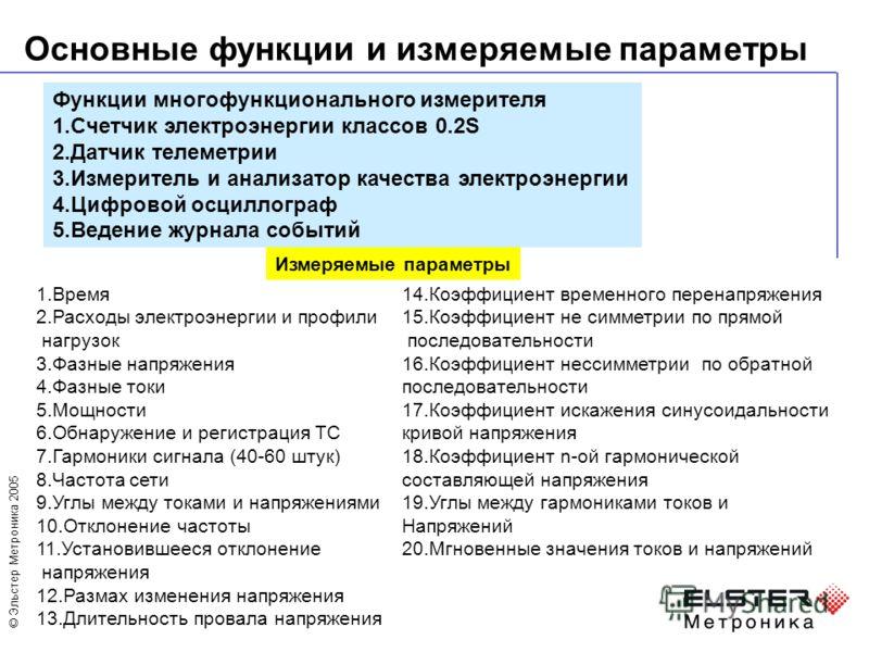 © Эльстер Метроника 2005 Основные функции и измеряемые параметры Функции многофункционального измерителя 1.Счетчик электроэнергии классов 0.2S 2.Датчик телеметрии 3.Измеритель и анализатор качества электроэнергии 4.Цифровой осциллограф 5.Ведение журн