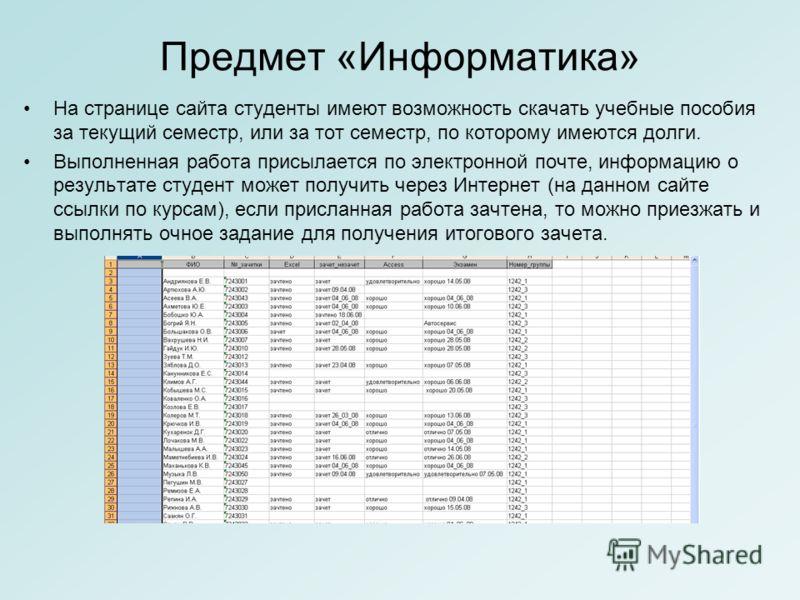 Предмет «Информатика» На странице сайта студенты имеют возможность скачать учебные пособия за текущий семестр, или за тот семестр, по которому имеются долги. Выполненная работа присылается по электронной почте, информацию о результате студент может п