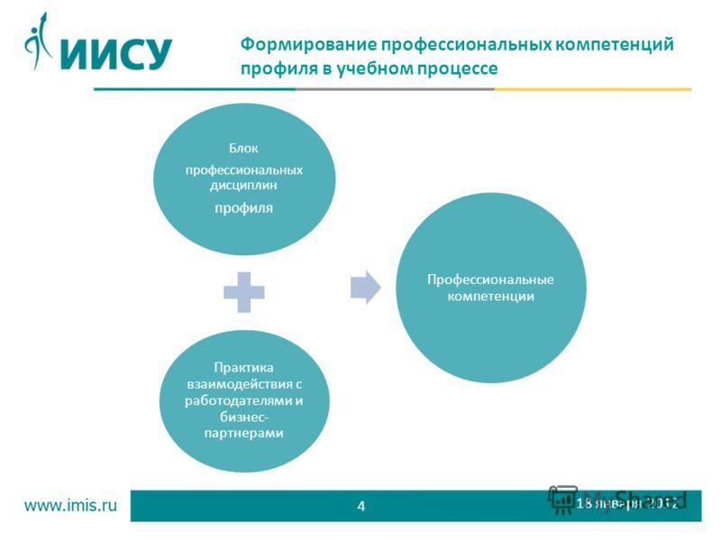 4 Формирование профессиональных компетенций профиля в учебном процессе Блок профессиональных дисциплин профиля Практика взаимодействия с работодателями и бизнес- партнерами Профессиональные компетенции