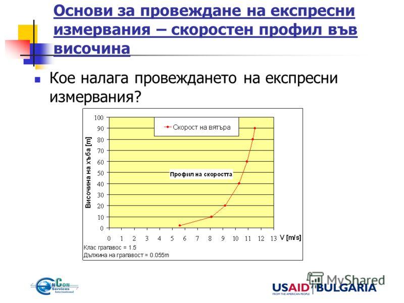 Основи за провеждане на експресни измервания – скоростен профил във височина Кое налага провеждането на експресни измервания?