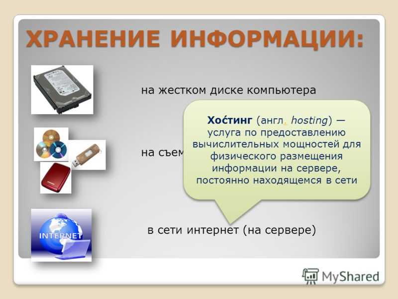 ХРАНЕНИЕ ИНФОРМАЦИИ: на жестком диске компьютера на съемных носителях в сети интернет (на сервере) Хо́стинг (англ. hosting) услуга по предоставлению вычислительных мощностей для физического размещения информации на сервере, постоянно находящемся в се