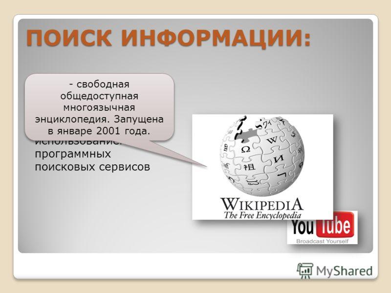 В СЕТИ ИНТЕРНЕТ осуществляется с использованием программных поисковых сервисов ПОИСК ИНФОРМАЦИИ: - свободная общедоступная многоязычная энциклопедия. Запущена в январе 2001 года.