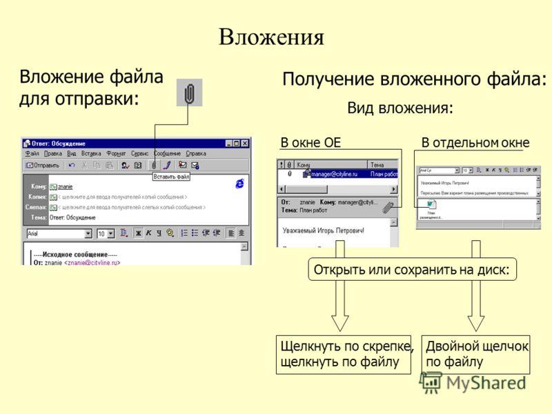 Вложения Вложение файла для отправки: Получение вложенного файла: Вид вложения: В окне OEВ отдельном окне Открыть или сохранить на диск: Щелкнуть по скрепке, щелкнуть по файлу Двойной щелчок по файлу