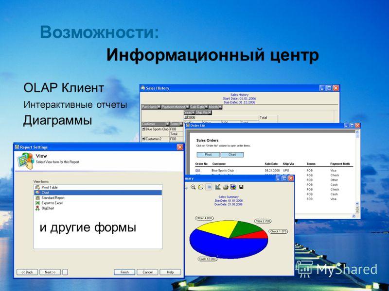 ООО Система Информационный центр OLAP Клиент Интерактивные отчеты Диаграммы и другие формы Возможности: