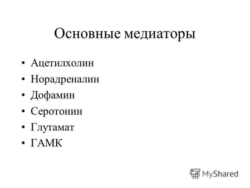 Основные медиаторы Ацетилхолин Норадреналин Дофамин Серотонин Глутамат ГАМК