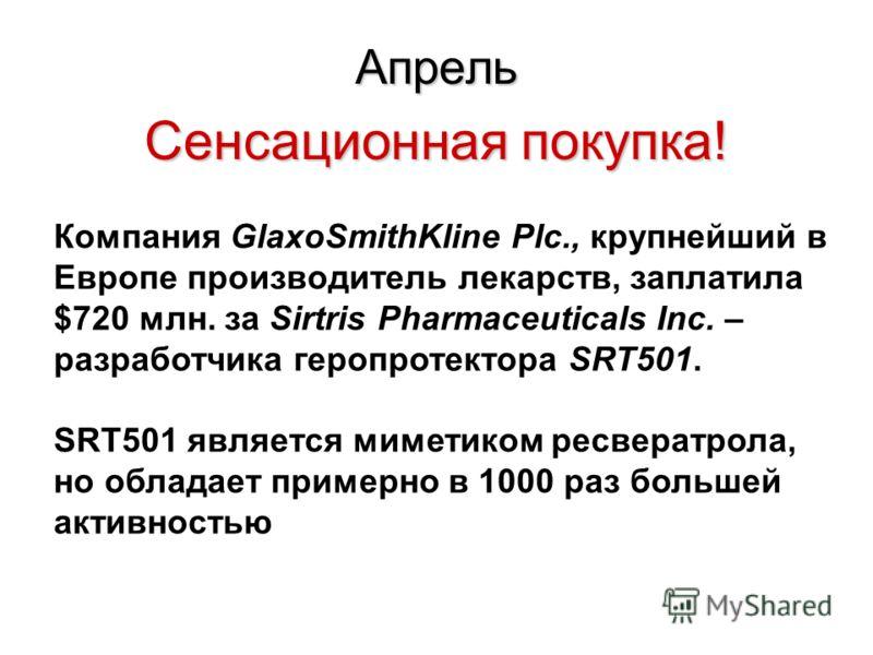 Апрель Сенсационная покупка! Компания GlaxoSmithKline Plc., крупнейший в Европе производитель лекарств, заплатила $720 млн. за Sirtris Pharmaceuticals Inc. – разработчика геропротектора SRT501. SRT501 является миметиком ресвератрола, но обладает прим