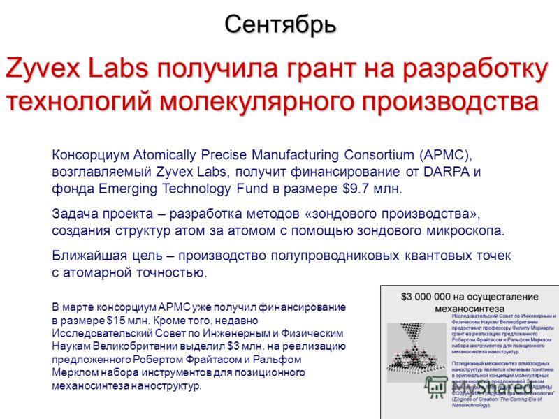 Сентябрь Zyvex Labs получила грант на разработку технологий молекулярного производства Консорциум Atomically Precise Manufacturing Consortium (APMC), возглавляемый Zyvex Labs, получит финансирование от DARPA и фонда Emerging Technology Fund в размере