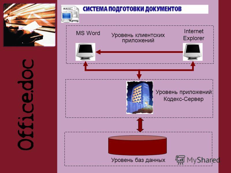 Уровень баз данных Уровень приложений Кодекс-Сервер MS Word Internet Explorer Уровень клиентских приложений
