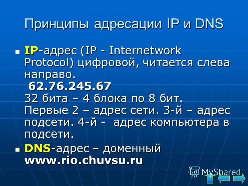 Принципы адресации IP и DNS IP-адрес (IP - Internetwork Protocol) цифровой, читается слева направо. 62.76.245.67 32 бита – 4 блока по 8 бит. Первые 2 – адрес сети. 3-й – адрес подсети. 4-й - адрес компьютера в подсети. IP-адрес (IP - Internetwork Pro